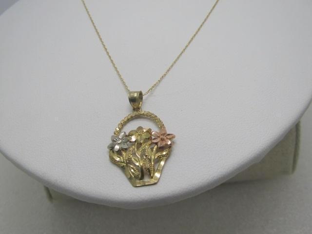 """Vintage 10kt Gold Basket Necklace, 18"""", Signed D, 2.43"""