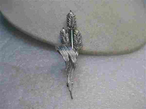 Vintage Articulated Wheat Brooch, Silver Tone - Tops