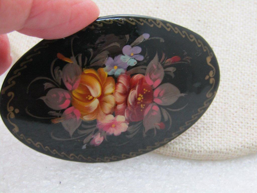 Vintage Black Floral Lacquered Brooch, Hand-Painted,