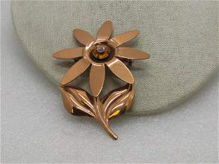 Vintage Copper Floral Brooch, Gold Rhinestone Center,