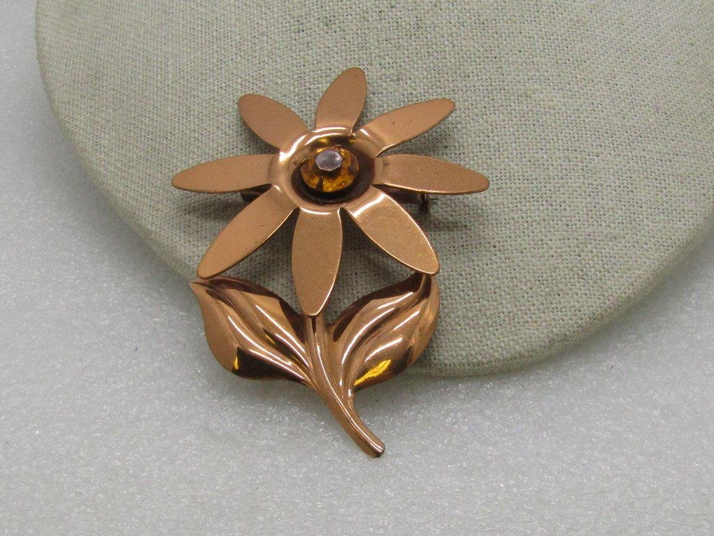 Vintage Copper Floral Brooch, Gold Rhinestone Center,