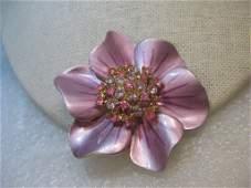 Vintage Enameled Flower Brooch Rhinestone Center Pink