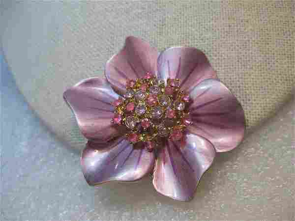 Vintage Enameled Flower Brooch, Rhinestone Center, Pink