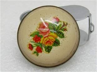 "Vintage Floral Bridle Button/Rosette Brooch, 1.75"""