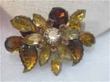 Vintage Gold Tone AmberGold SemiFrosted Leaf