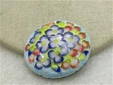Vintage Guilloche Floral Brooch Round Domed 15