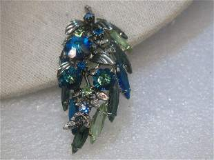 Vintage Silver Tone Leaf Brooch with Blue Margarita