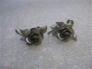 Vintage Sterling Silver Rose Earrings singed A Z 5