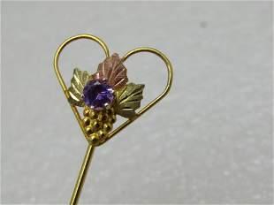 Vintage Sterling 10kt Black Hills Gold Stick Pin