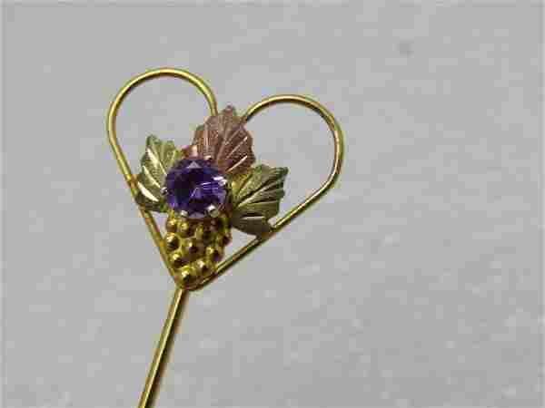 Vintage Sterling 10kt Black Hills Gold Stick Pin,