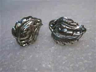 Vintage Sterling Danecraft Leaf Earrings Screw Back