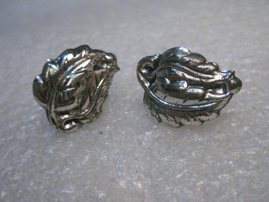 Vintage Sterling Danecraft Leaf Earrings, Screw Back,