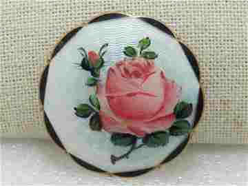 Vintage Sterling Guilloche Rose Brooch, C-Clasp, O.F.