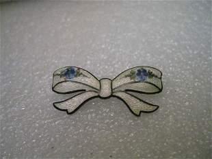Vintage Sterling Silver Guilloche Victorian Floral Bow