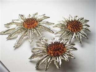 Vintage Sunflower Brooch Clip Earrings Set Sarah