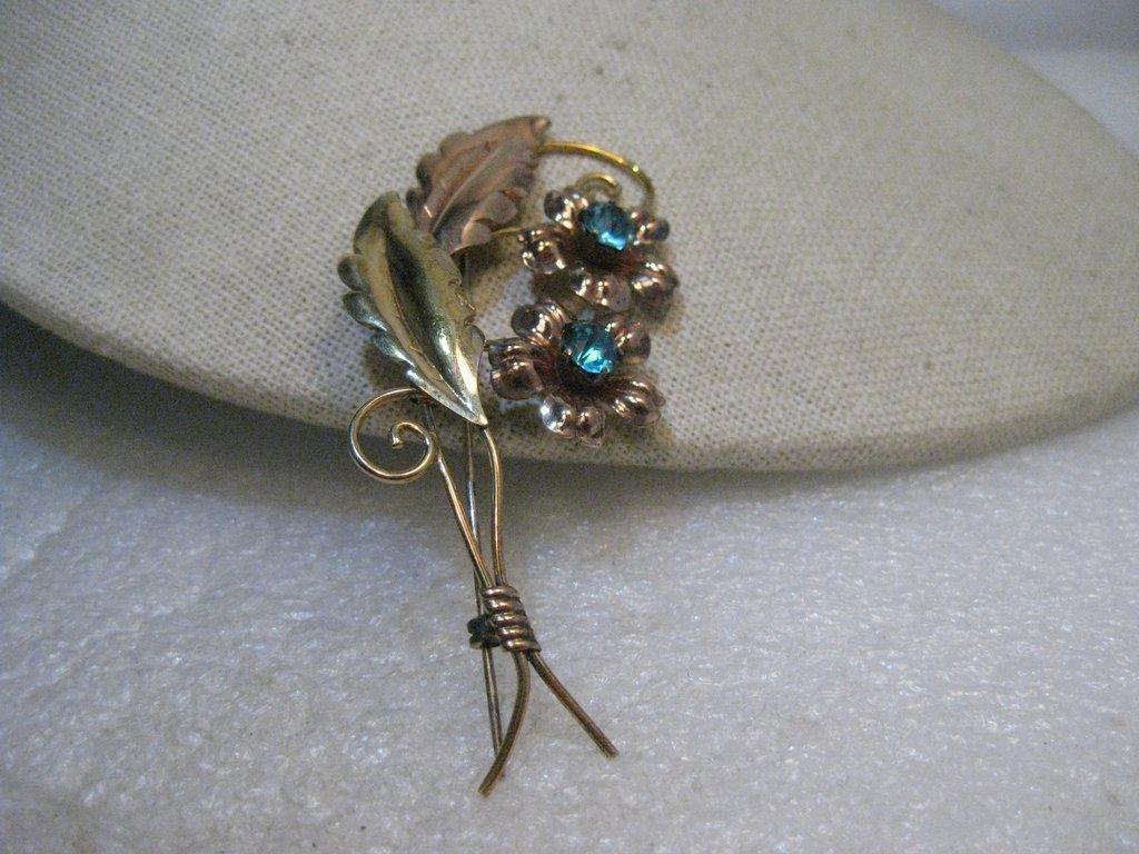 Vintage Van Dell Floral Brooch, 12kt G.F., Blue