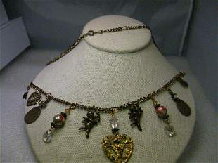 """Brassy Gold Tone Charm Necklace, 22"""", hearts, angels,"""