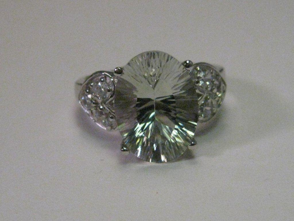 Sterling Silver Large CZ Statement Ring with Heart Side