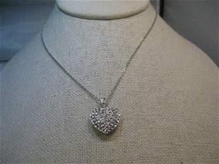 Sterling Silver Rhinestone Heart Necklace Puffy Swing