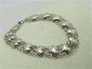 """Vintage Sterling Filigree Heart Bracelet, 7.5"""", Puffy"""