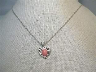Vintage Sterling Heart Necklace, Pink Quartz Stone,