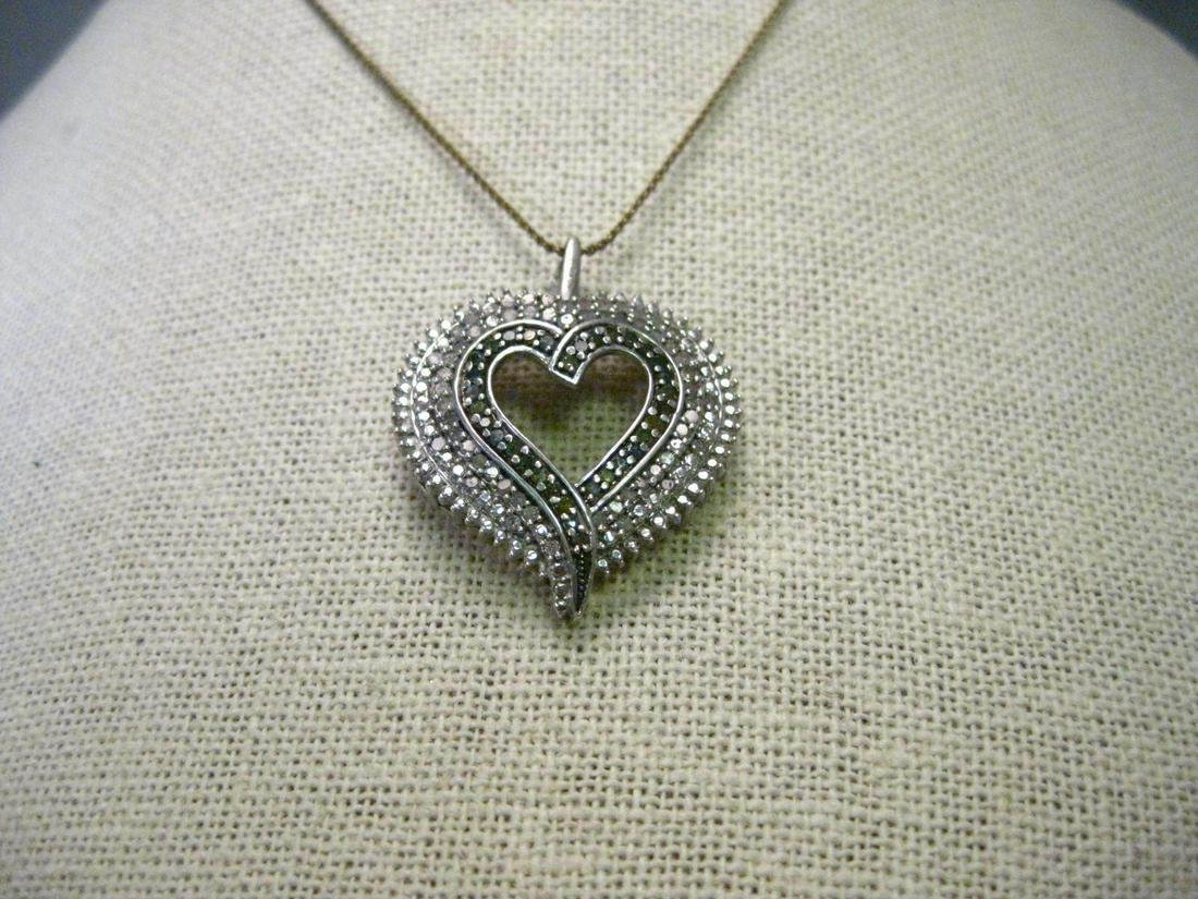 Vintage Sterling Silver Diamond Tiered Heart Pendant, 3