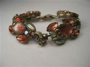 Vintage Gold Tone Pink Givre Floral Stones and Pink