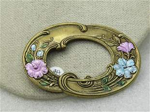 Vintage Art Nouveau Themed Enameled Brooch, Floral,