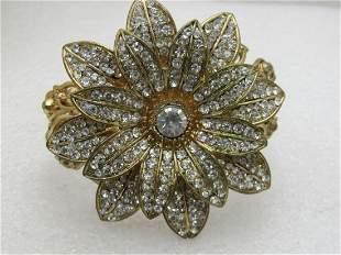 Vintage Rhinestone Floral Clamper Bracelet, Statement,