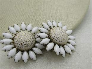 Vintage White Milk Glass Blossom Earrings, Clip -