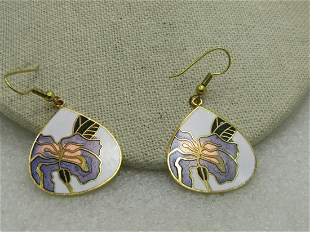 """Vintage Cloisonne Orchid Pierced Earrings, Teardrop, 2"""""""