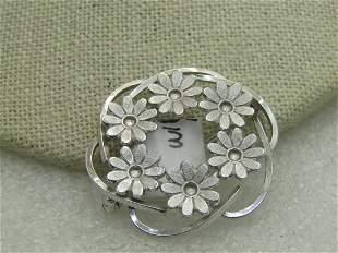 Vintage Sterling Silver Daisy Brooch, Van Dell,