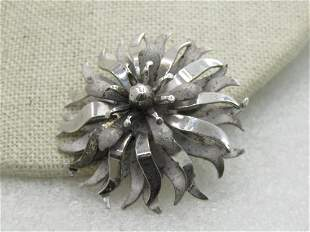 Vintage Sterling Silver Tiered Blossom Brooch, Signed