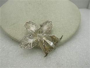 Vintage Sterling Silver Filigree Lily Brooch, C. Clasp.