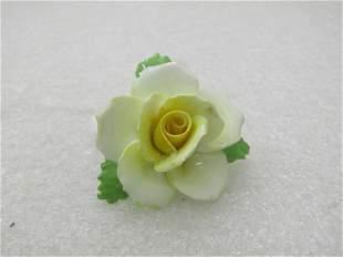 Vintage PorcelainYellow Rose Brooch, Signed Adderley,