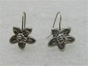 Vintage Sterling Silver Floral Drop Pierced Earrings,
