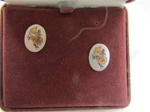 Vintage Reed & Barton Oval Floral Pierced Earrings, New