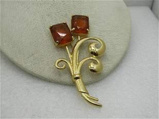 "Nolan Miller Art Deco Rhinestone Floral Brooch, 4"""