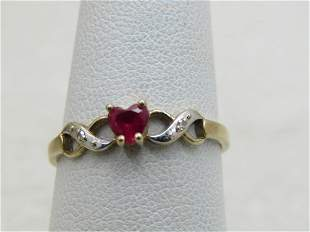 Vintage 10kt Two-Tone Ruby Heart Ring, Diamond Accents.