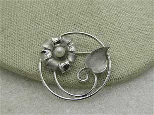 "Vintage Sterling Silver Floral Brooch, Circle, 1.25"","