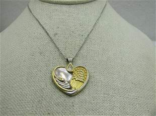 Vintage Sterling Heart/Angel Wing Necklace, with