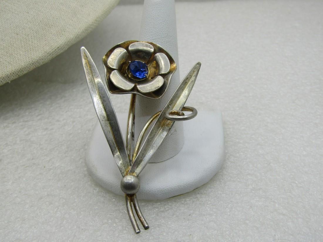 Vintage Sterling Floral Stem Brooch, Blue Rhienstone,