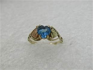 Vintage 10kt Black Hills Topaz Heart Ring, Sz. 8.5 (NL)