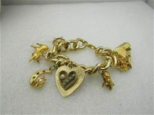 "Vintage 1980's Chunky Charm Bracelet, 7.5"", 15mm Curb"