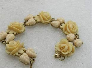 """Vintage Molded Rose & Leaf Linked Bracelet, 7"""", 16mm"""