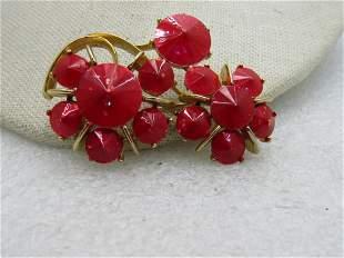 Vintage Lisner Red Opally Rivoli Floral Brooch, 1960's.