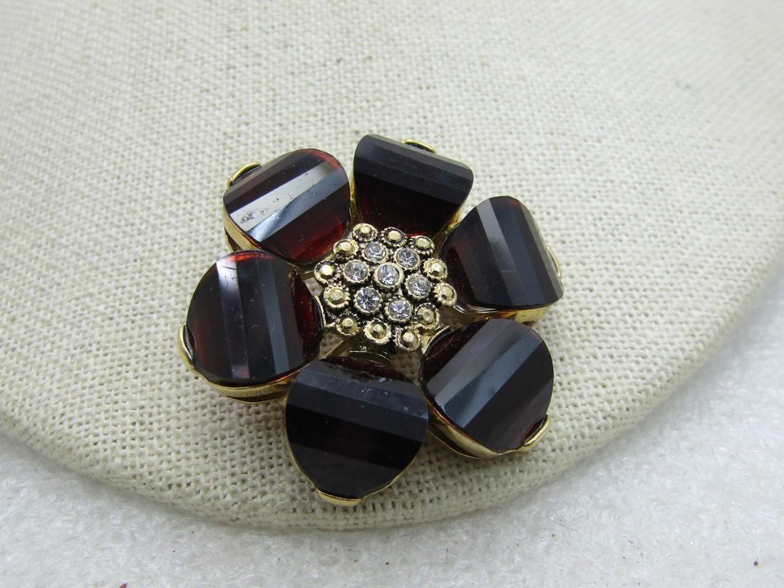 Vintage 10kt G.F. Floral Brooch, Step Cut Faux Garnet &