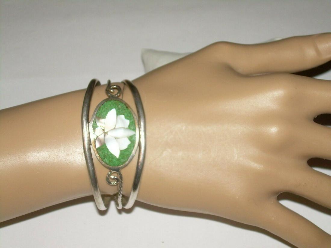 Mexican Inlaid Floral Cuff Bracelet - Alpaca Silver;