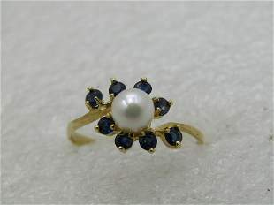 14kt Pearl & Blue Spinel Ring, Sz. 7.5, Blossom Vine