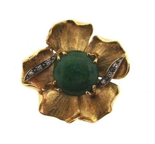 CUTE Gold Plated, Diamond & Jade Flower Pin Circa 1950s